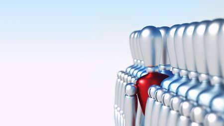 menschenmenge: Einzigartige 3D-Charakter stehen aus der Menge