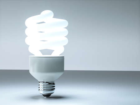lit lamp: Modern 3D cfl lightbulb design background