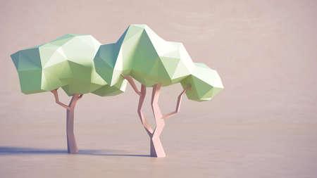 to polygons: Bajo polígono de diseño 3D árboles de fondo