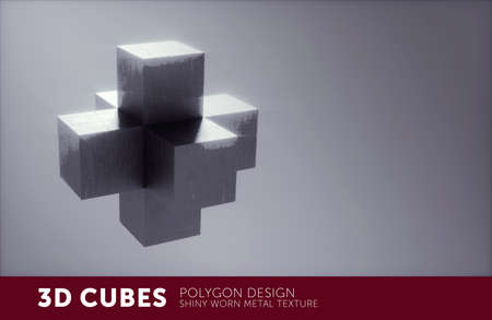Architectural 3D cube structure with metal texture