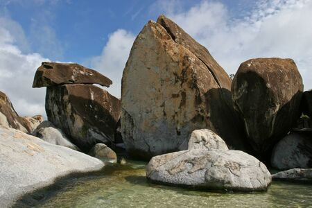 Large rock formations known as The Baths on the southern shores of Virgin Gorda in the British Virgin Islands. Stock Photo