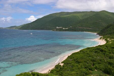 A scenic view of St. Thomas Bay on the island ov Virgin Gorda in the Brith Virgin Islands. Stock Photo