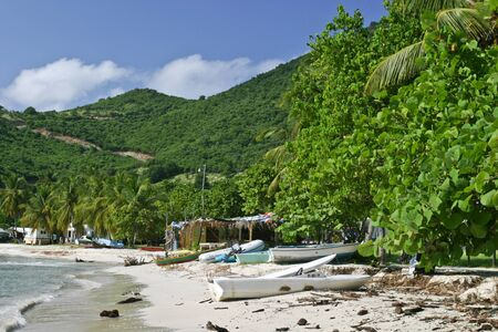 A secluded beach resort and outpost on the British Virgin Island of Jost Van Dyke. Редакционное