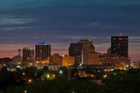 Downtown Dayton, Ohio, skyline just after sunset  Stock Photo