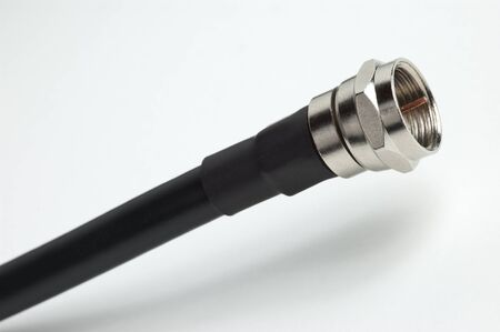 Closeup of the barrel connector on a coaxial cable used in cable television installation