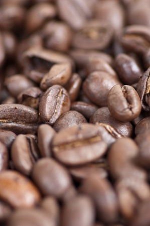 Macro closeup of roasted coffee beans ready for grinding