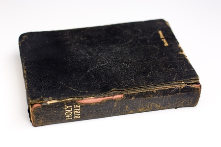 A word Bible with black leather cover and gold lettering  Stock Photo - 14413690
