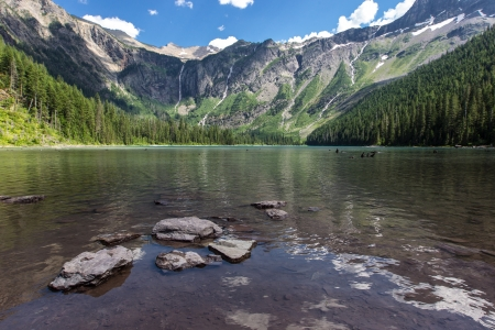 A view toward Bearhat Mountain from Avalanche Lake in Glacier National Park, Montana