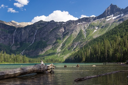 A view toward Bearhat Mountain on the left and the Little Matterhorn on the left from the shore of Avalanche Lake in Glacier National Park, Montana
