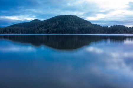 Minutes after sunset at Cascade Lake, an inland body of water on Orcas Island which is  part of the San Juan Islands in Washington