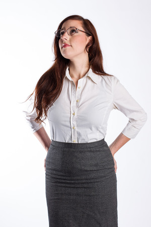 Business Woman Looks Up Stock Photo
