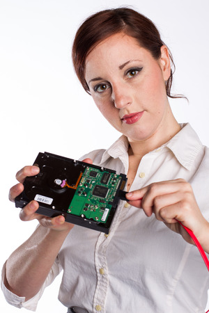 Woman with Hard Drive Stock Photo