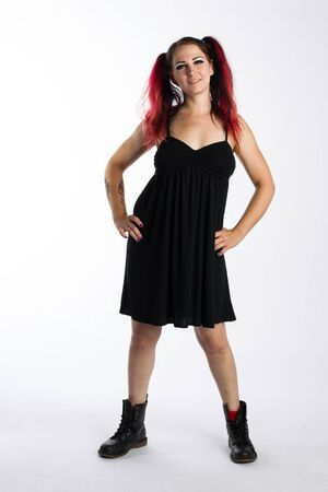 combat boots: Happy Punk Girl in Combat Boots and Black Dress