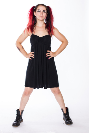 Punk Girl in Combat Boots and Black Dress