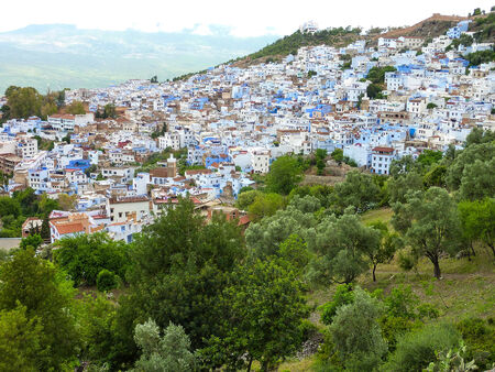 The blue painted hill town of Chefchaouen, Morocco  Stock fotó