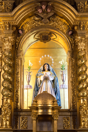 Statue of the Virgin Mary in the grotto of the Virgin de la Peña in Mijas, Spain. Редакционное