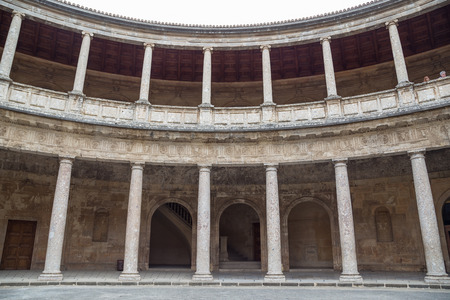 The rotunda of the Palace of Charles V located within the walls of the Alhambra in Granada, Spain.
