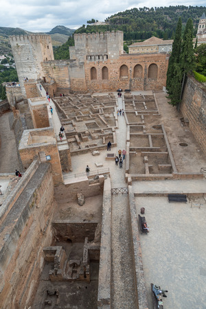 The excavated and reconstructed living quarters in the Red Castle, part of the Alhambra fortress complex in Granada, Spain.