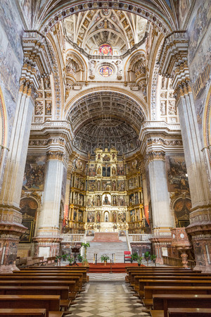 The luxuriously adorned  church at the monastery of St. Jerome (San Jerónimo) in Granada, Spain.
