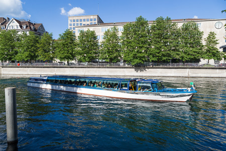 The water taxis in Zurich, Switzerland, are part of the public transport system and ferry passengers to a number of locations on the Limmat River and Lake Zurich. Editorial