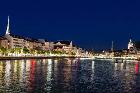 View of the historic district of Zurich, Switzerland, from one of the many bridges that cross the Limmat River