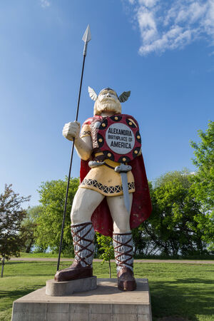 The statue of Big Ole the Viking was constructed in 1965 as a tourist attraction to commemorate the Norse heritage of those who settle in the region around Alexandria, Minnesota.