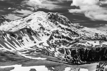 Black and white image of the north face of Mt  Rainier as seen from the Mt  Freemont Trail