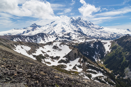 The north face of Mt  Rainier as seen from the Mt  Freemont Trail