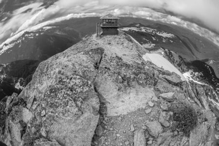 Black and white image of the Mt  Freemont Lookout in Mt  Rainier National Park, Washington