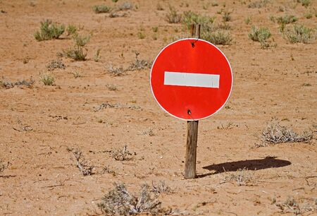No entry sign in the desert photo