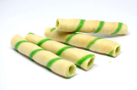 Green pandanus waffle vietnamese on white background