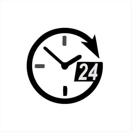 clock logo icon isolated. Watch object, time office symbol. Clock flat icon. Time logo. Watch logo. Clock logo. World time. Clock icon. Clock time vector icon. Timer clock isolated silhouette. Ilustrace
