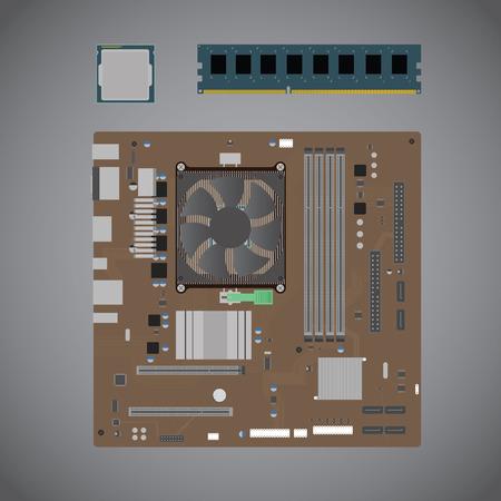 Vectorillustratie van computeronderdelen Stock Illustratie