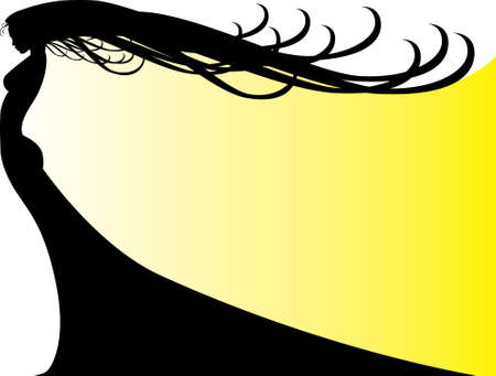 Woman Schatten in gelb  Standard-Bild - 3253052