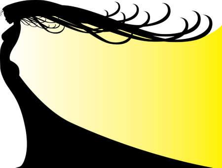 Woman Shadowed on Yellow Vector