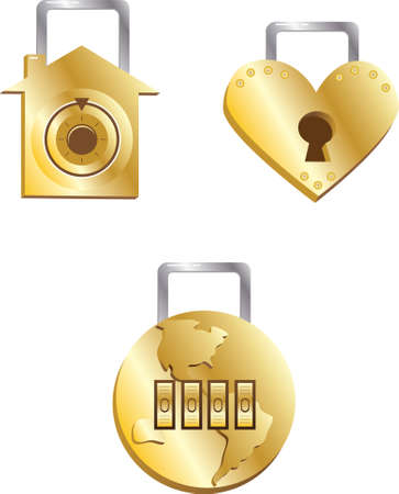 Three things always worth protecting - Heart, Home & Planet (golden locks for all three) Stock Vector - 3267256