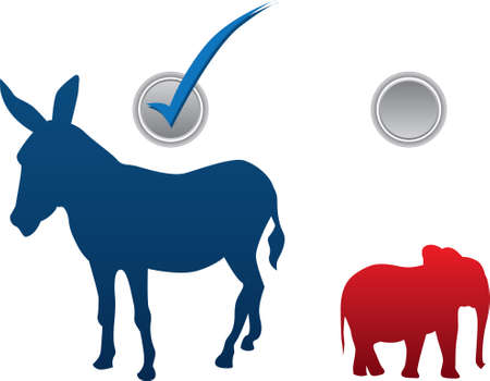 American election vector illustration - democratic win Vector