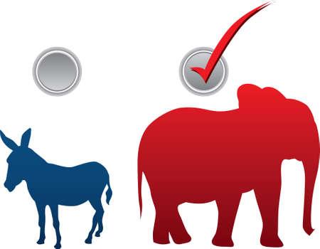 elect: American election vector illustration - republican win