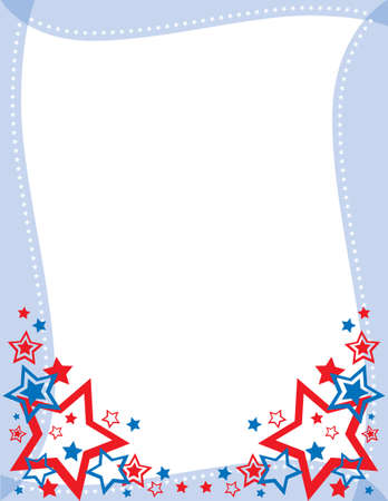 Red, White and Blue Star Frame Vector