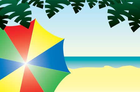 A Beach Scene with a Colorful Umbrella Vector