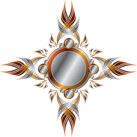 Symmetrical Gold and Silver Frame Vector