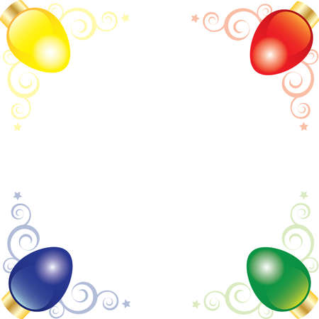 Corner art of bright and colorful vector Christmas lights Vector