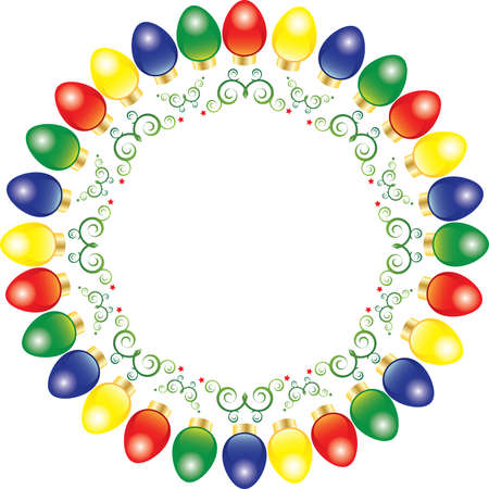 A wreath of bright and colorful vector Christmas lights Vector