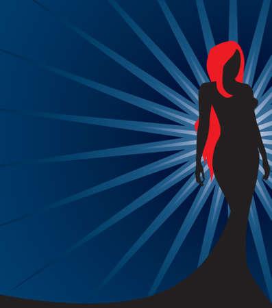 Silhouette of a Redhead Banco de Imagens - 3267263