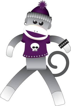 Goth Sock Monkey Stock Vector - 3267272