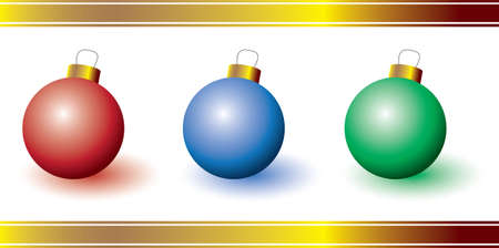 Three colorful ornaments - perfect for a Christmas card Ilustração