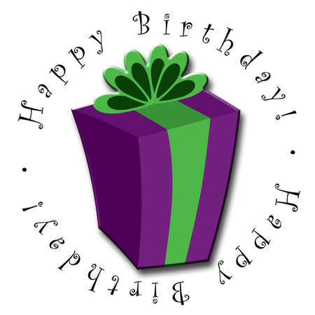 An illustrated birthday icon featuring a purple and green gift Banco de Imagens