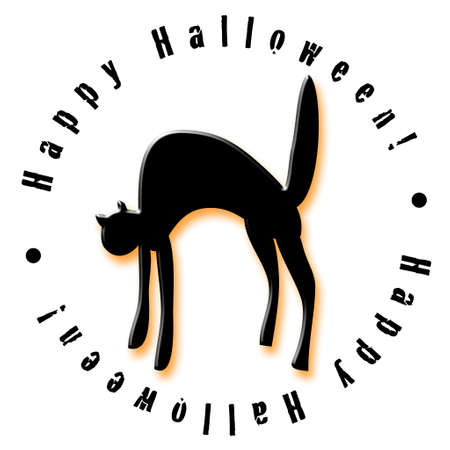 Illustrated Halloween icon featuring a spooky black cat Banco de Imagens