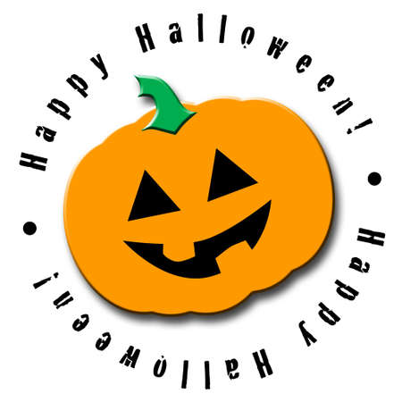 Illustrated Halloween icon featuring a happy jack-o-lantern Banco de Imagens