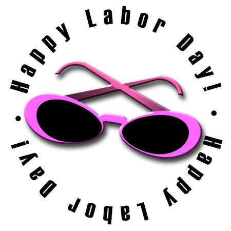 An illustrated Labor Day icon with pink sunglasses Banco de Imagens